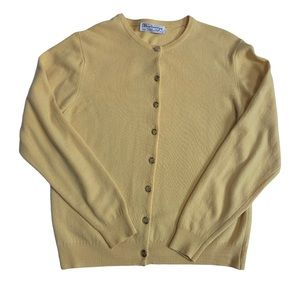 Vintage Burberry yellow lambswool cardigan